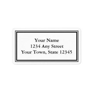 Etiquetas de dirección negras y blancas de encargo