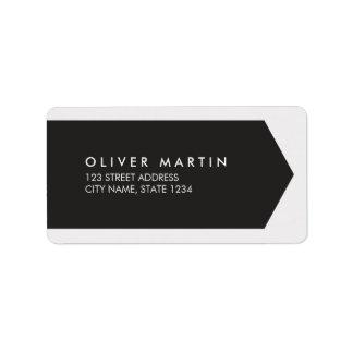 Etiquetas de dirección negras y grises claras
