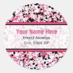 Etiquetas de dirección negras y rosadas de la etiqueta redonda