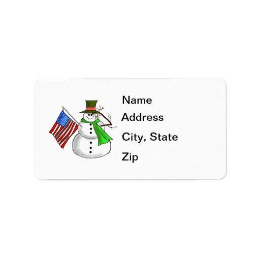 Etiquetas de dirección patrióticas del muñeco de n