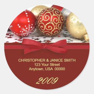 Etiquetas de dirección personalizadas del navidad pegatina redonda