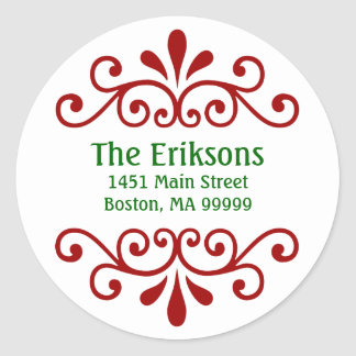 Etiquetas de dirección personalizadas del navidad etiquetas redondas