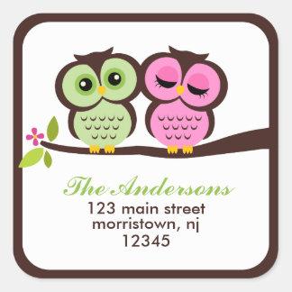 Etiquetas de dirección preciosas de los búhos pegatina cuadrada