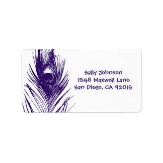 Etiquetas de dirección púrpuras de la pluma del