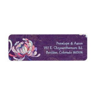 Etiquetas de dirección púrpuras del boda de la mom