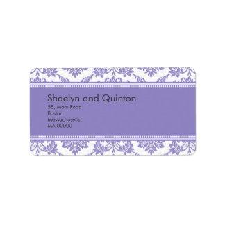Etiquetas de dirección púrpuras del boda del damas