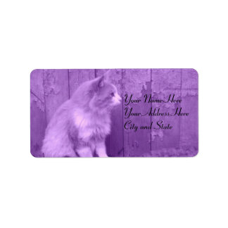 Etiquetas de dirección púrpuras del gato