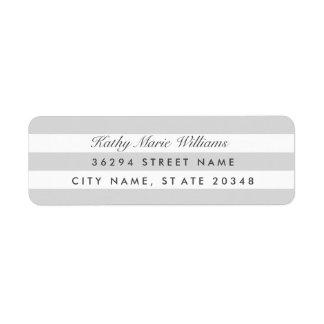 Etiquetas de dirección rayadas de plata