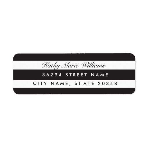 Etiquetas de dirección rayadas negras elegantes
