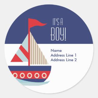 Etiquetas de dirección redondas - azul del velero pegatina redonda