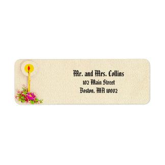 Etiquetas de dirección religiosas de la vela