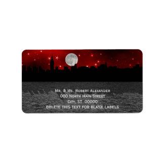 Etiquetas de dirección rojas de la luna H de la