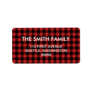 Etiquetas de dirección rojas de la tela escocesa
