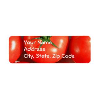 Etiquetas de dirección rojas de los tomates