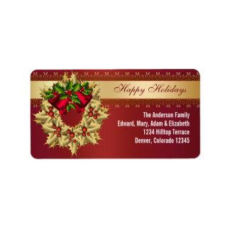 Etiquetas de dirección rojas del navidad de Belces