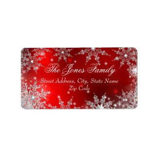 Etiquetas de dirección rojas del navidad del país