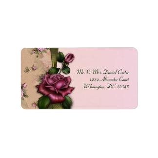 Etiquetas de dirección rojas del rosa color de ros