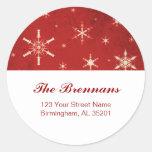 Etiquetas de dirección rojas y blancas del navidad pegatinas redondas