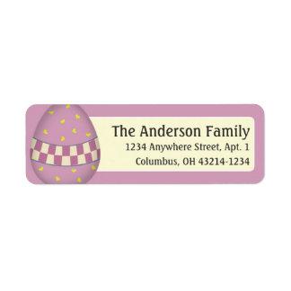 Etiquetas de dirección rosadas adornadas del huevo