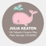Etiquetas de dirección rosadas de la ballena