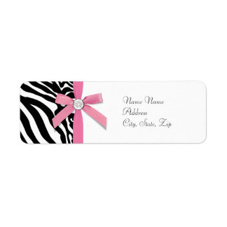 Etiquetas de dirección rosadas de la cebra