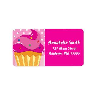 Etiquetas de dirección rosadas de la fiesta de cum