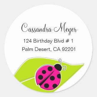 Etiquetas de dirección rosadas de la mariquita pegatina redonda
