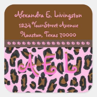 Etiquetas de dirección rosadas de la piel del pegatina cuadradas