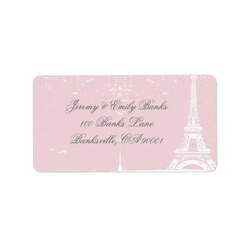Etiquetas de dirección rosadas de la torre Eiffel