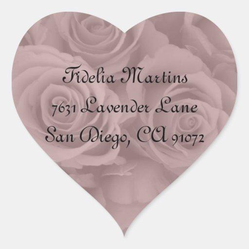 etiquetas de dirección rosadas de los rosas calcomanías corazones personalizadas