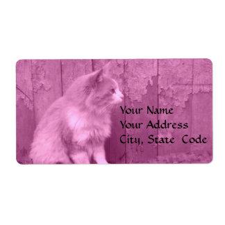 Etiquetas de dirección rosadas de Sáhara (gato)