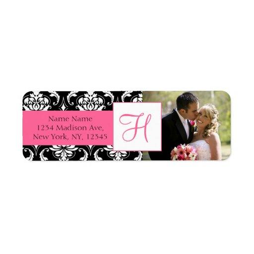 Etiquetas de dirección rosadas del boda de la foto