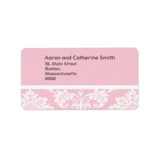 Etiquetas de dirección rosadas del boda del damasc