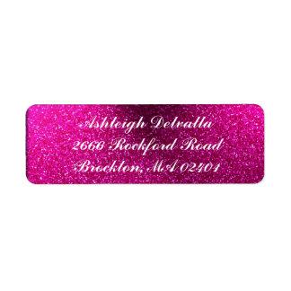 Etiquetas de dirección rosadas del brillo