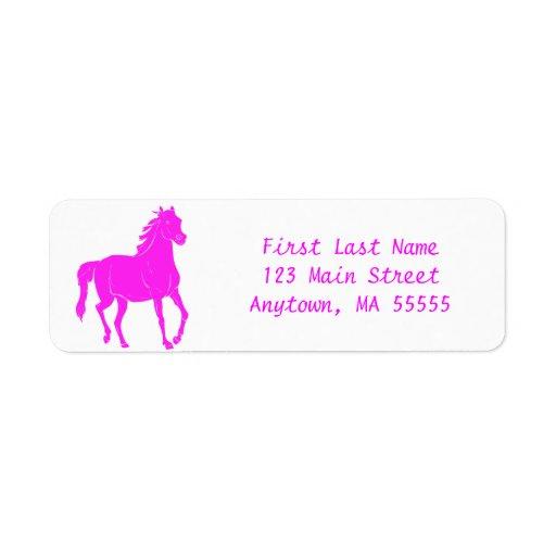Etiquetas de dirección rosadas del caballo