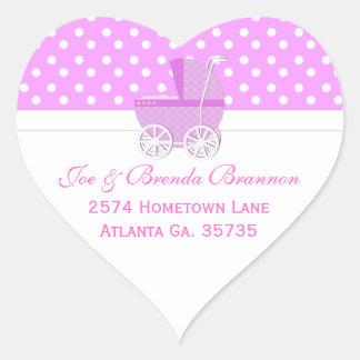 Etiquetas de dirección rosadas del carro y de los pegatina en forma de corazón