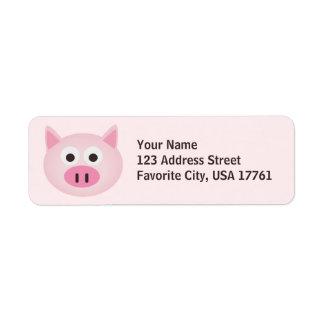 Etiquetas de dirección rosadas del cerdo