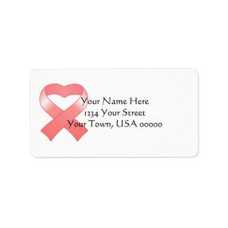 Etiquetas de dirección rosadas del corazón de la c