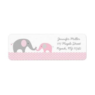 Etiquetas de dirección rosadas del elefante de