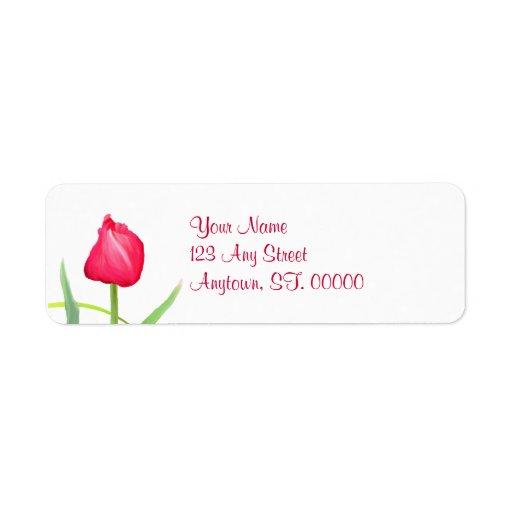 Etiquetas de dirección rosadas del tulipán