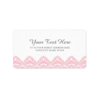 Etiquetas de dirección rosadas elegantes del cordó