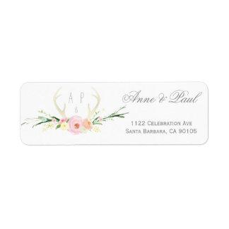 Etiquetas de dirección rosadas florales del boda