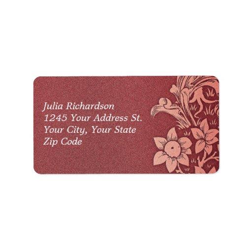 etiquetas de dirección rosadas rojas del boda del