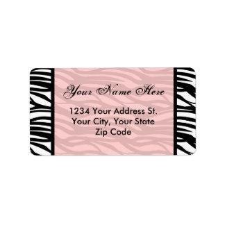 Etiquetas de dirección rosadas suaves de la cebra