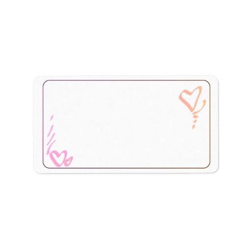 Etiquetas de dirección rosadas y anaranjadas de