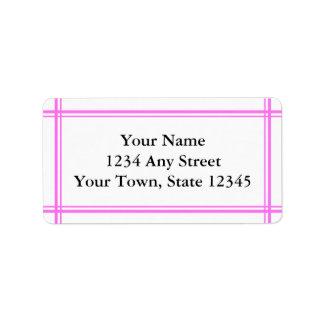 Etiquetas de dirección rosadas y blancas de encarg