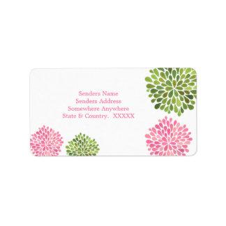 Etiquetas de dirección rosadas y verdes de las flo