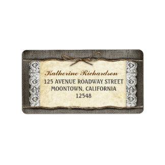 etiquetas de dirección rústicas de la cinta del co