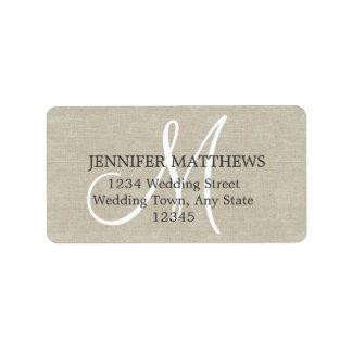 Etiquetas de dirección rústicas de la tarjeta de c