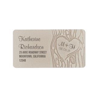 etiquetas de dirección talladas del boda del árbol